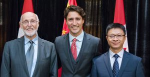 Bernie Frolic, executive director of ABMP and professor emeritus at York University; Prime Minister Justin Trudeau; and He Jinsong, president of BIE